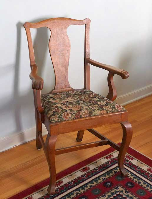 1087 Armchairs, purchased by Cass Gilbert for the 1905 Minnesota State Capitol, carved wood with fabric cushion seat cover, pair located in South St, Paul, Minnesota