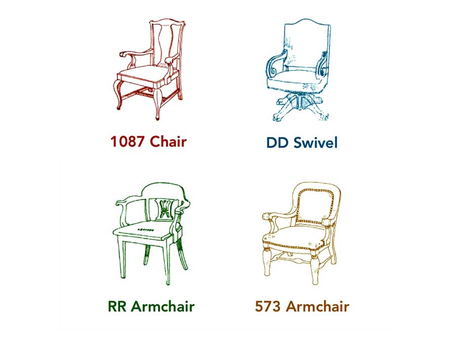 four drawings of original chairs for the 1905 Minnesota State Capitol designed by Cass Gilbert