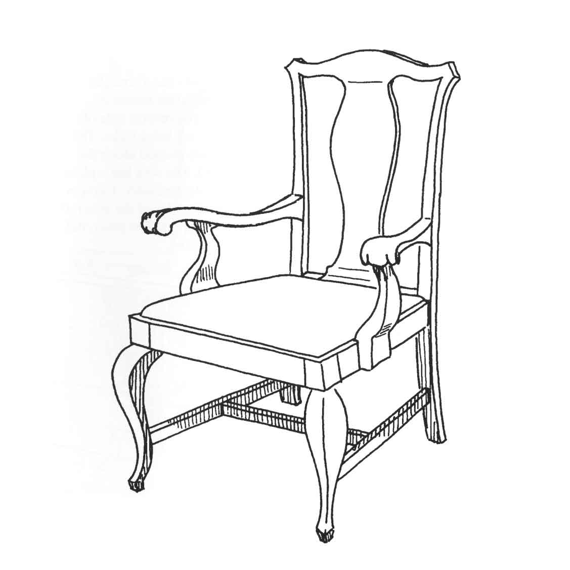 Original drawing of 1087 Armchair  \purchased by Cass Gilbert for the 1905 Minnesota State Capitol, carved wood. Drawing by Scott Chase