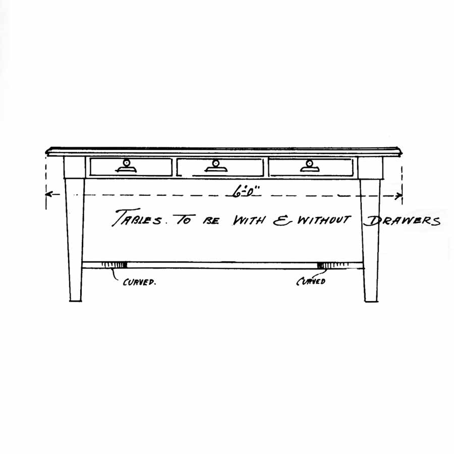 "Drawing of Work table designed for the Minnesota State Capitol in 1905 by architect Cass Gilbert /©""Attention to Detail"" MNHS 1989"