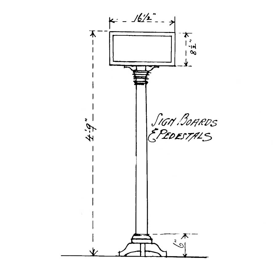 Drawing of R Instructional Sign, drawing by Cass Gilbert
