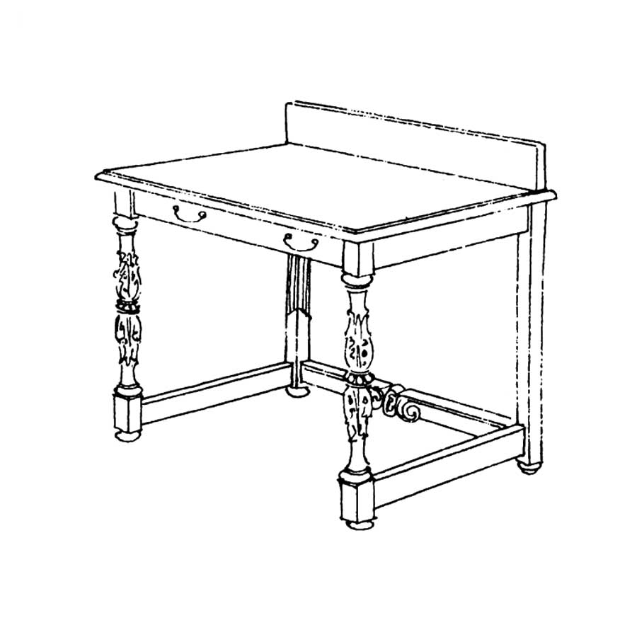 Drawing of KK Writing Desk, designed by Cass Gilbert. None are known to exist.