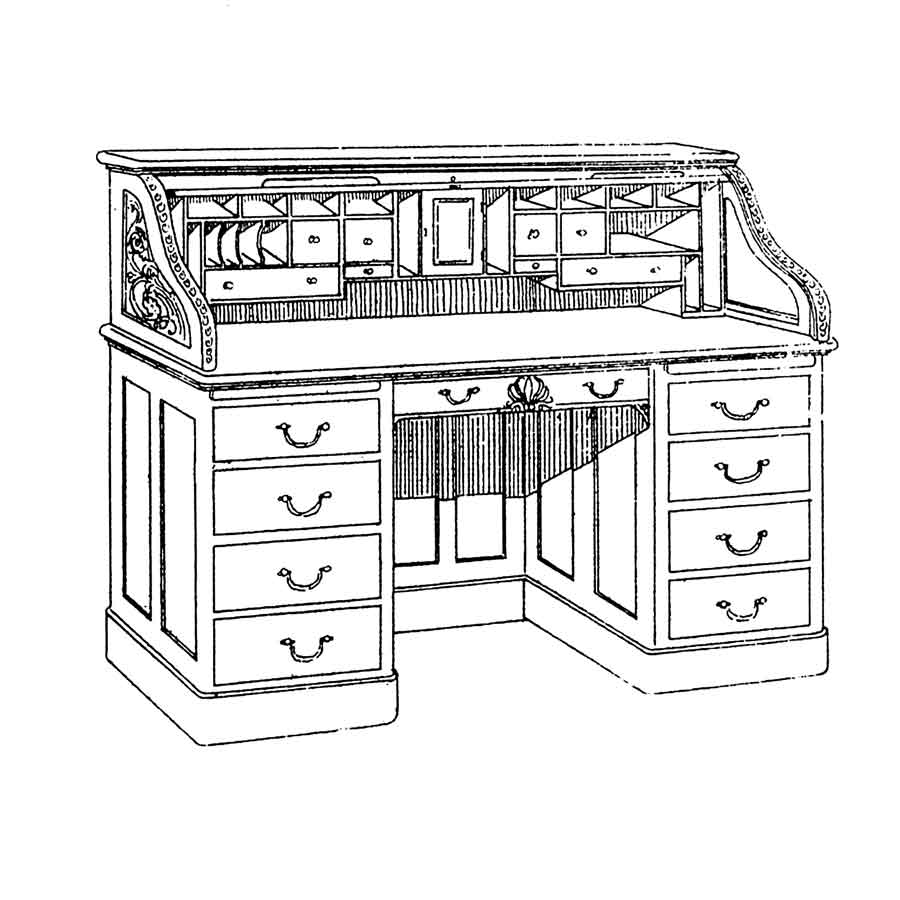 drawing of SS Rolltop Desk, designed by Cass Gilbert. None are known to exist.