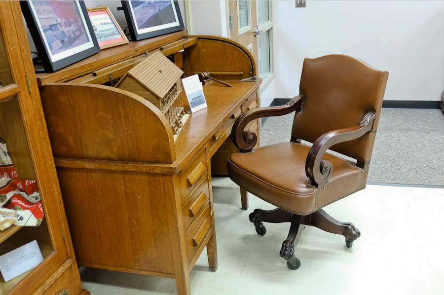 Rolltop desk likely added to the State Capitol in the 1930s, now at the Nobles County Historical Society