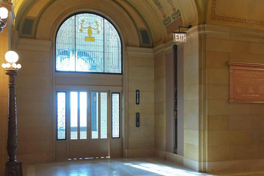 photo- First floor elevator, after restoration for Minnesota State Capitol, circa 2017.