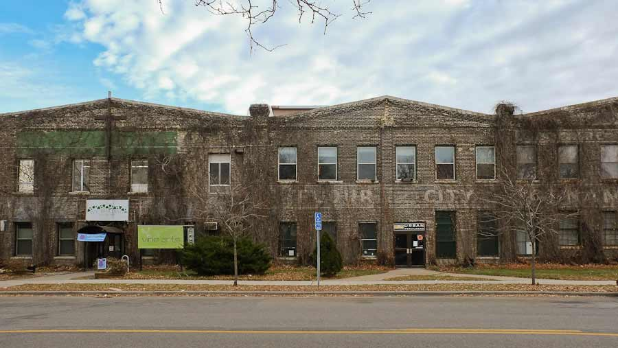 Photo panorama  of Former Flour City Ornamental Ironworks factory, Minneapolis, now called the Ivy Building. Maker of original ironwork elevator grill designed by Cass Gilbert for the 1905 Minnesota State Capitol